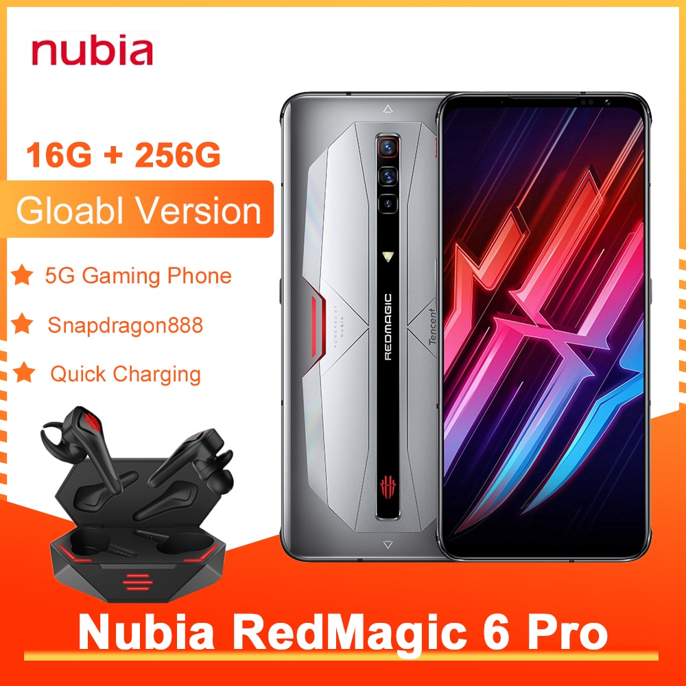 Nubia Red Magic 6 Pro Global Version Gaming Smartphone NFC 6.8'' AMOLED Snapdragon 888 Octa Core 30W Fast Charge RedMagic 6 Pro
