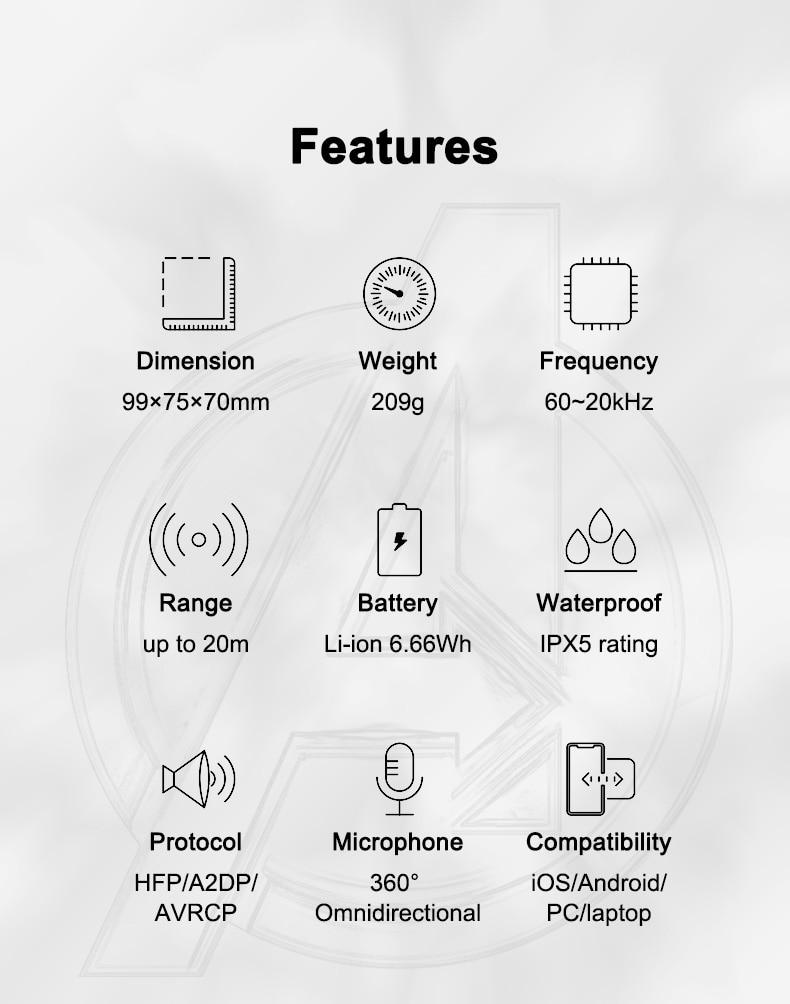 Marvel Certified Original Iron Man TWS Wireless Stereo Bluetooth Speaker Captain America Waterproof Deep Bass Designed by Oontz enlarge