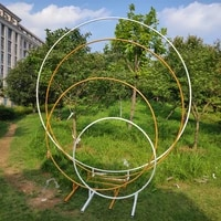 circle wedding props birthday decor wrought iron round ring arch backdrop round arch lawn artificial flower row stand wall shelf