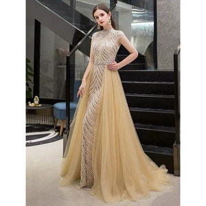 Sexy O-Neck Muslim Dubai Mermaid Beaded Cap Sleeve Evening Dresses for Women 2020 Long Floor Length Tulle  Formal Party Gown