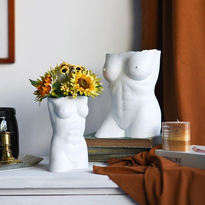 Jarrón con adorno floral para arte corporal, estilo de arte nórdico, contenedor creativo para sala de estar, dormitorio, decoración del hogar, estatua artesanal