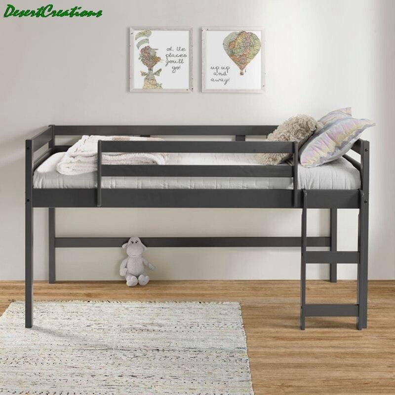 سرير علوي خشبي مزدوج سرير علوي منخفض للأطفال مع سلم