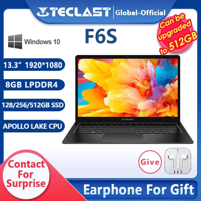 Teclast-notebook f6s, computador portátil, 13.3 gb, 8gb, 128gb, 256gb, full hd, ips, 512x1920, windows 10