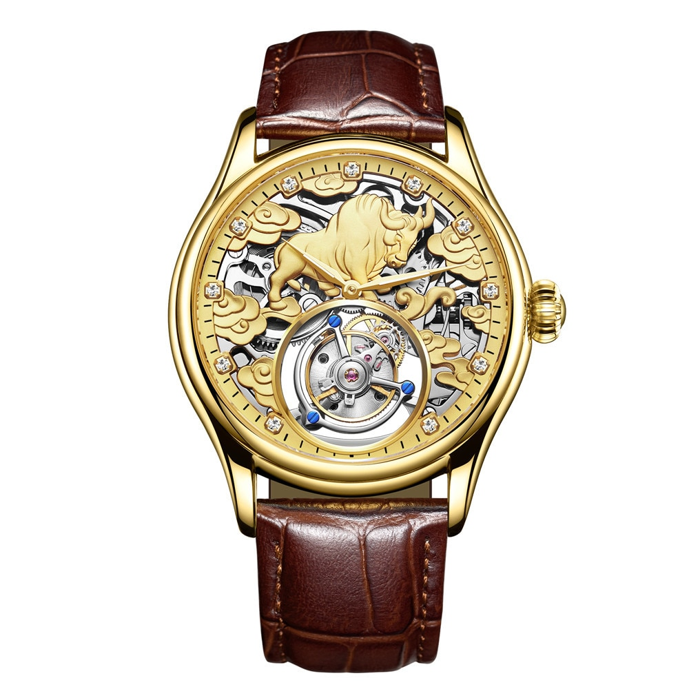 GUANQIN-ساعة رجالية فاخرة من الياقوت ، ساعة يد ميكانيكية للرجال ، توربيون حقيقي ، ساعة رجالية