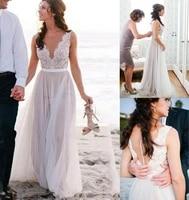 elegant a line v neck long lace wedding dresses with belt zipper back floor length tulle bridal gowns for women