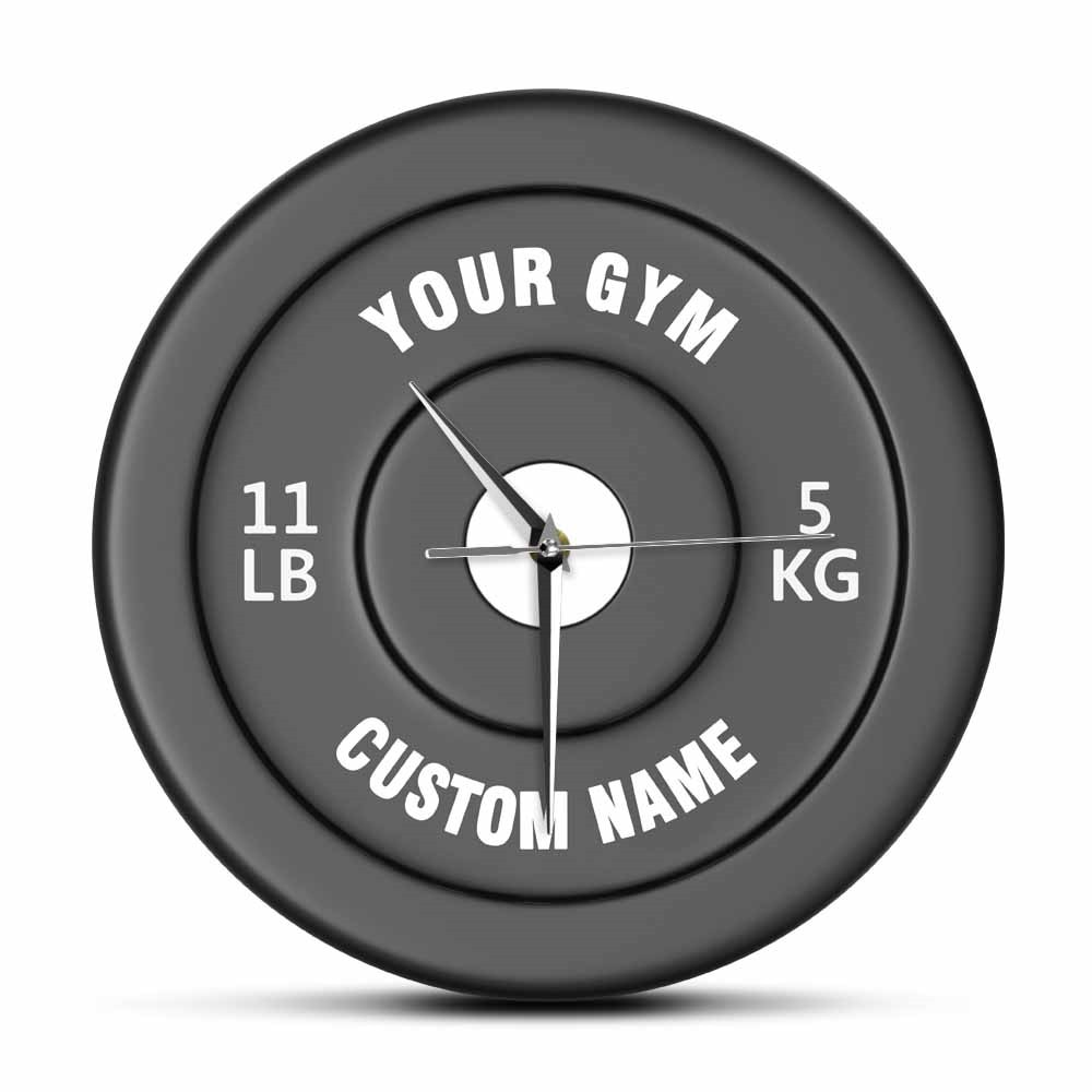 Custom Your Gym Name Gym Owner or User Funny Acrylic Wall Clock Dumbbells Design 3D Effect Fitness Sports Equipment Wall Watch