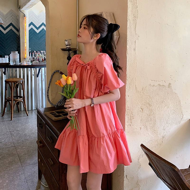 ZCSMLL 2020 New Summer Women Vestidos Korean Version of Solid Color Puff Sleeve Bow Tie Dress Female Loose