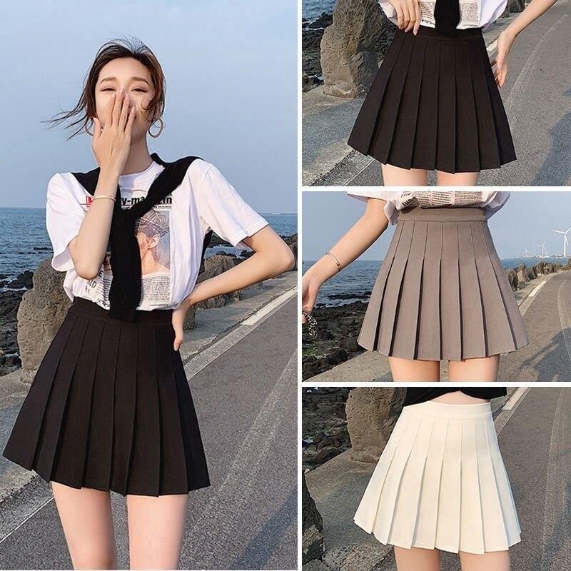 Sexy women short skirt cute female pleated skirt spring and autumn high waist solid color mini skirt summer female skirt