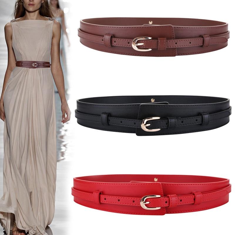 HATCYGGO Wide Cummerbund Women Black Waist Corset Belt Lady Casual Skirt Buttons Decorative Waistban