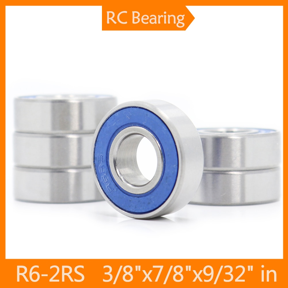 FUSHI R6rs Bearings Blue Sealed Inch Size , ABEC-3 R6-2RS Shaft Ball Bearing R6 Parts For Hobby RC C
