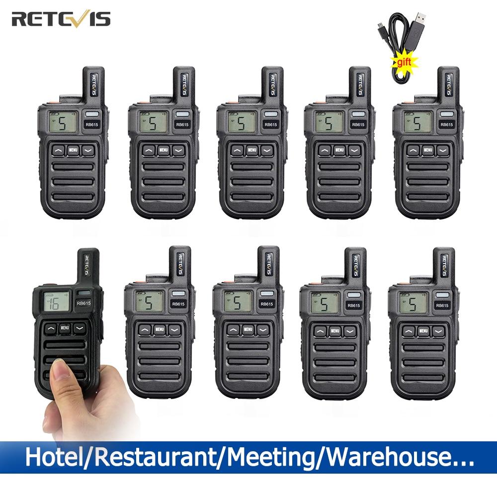 10 pcs Retevis RB615 Cheap Mini Walkie Talkie PMR 446 Walkie-Talkies FRS Portable Two-way Radio ht Communicator Hotel Restaurant