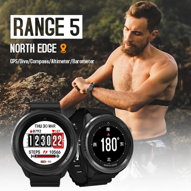 NORTH EDGE Mens GPS Smartwatch Heart Rate Multi Sports Waterproof Dive 50M Altimeter Barometer Compass GPS Watch For Android IOS
