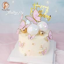 Biling coloré rose or papillon joyeux anniversaire gâteau Topper mariage mariée Dessert décoration pour fête danniversaire beaux cadeaux