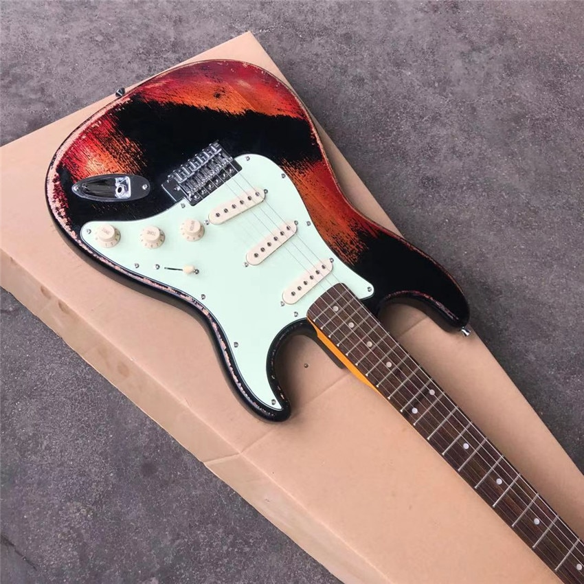 Stock, antique, old electric guitar, color, real photos, free shipping, can be customized according to the requirements enlarge