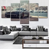 wall art canvas 5 piece prints modular picture black supercar posters modern home decoration living room decorative painting