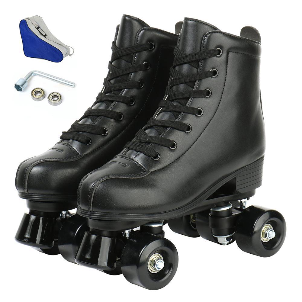 Adult Children Pu Leather Roller Skates Skate Shoes Sliding Inline Four-wheel Skates Sports Shoes Training 4 Wheels Flash Shoes enlarge