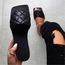 New Fashion  Women Square Toe Flat Casual Shoes Women Slide 2021 Summer Flip Flops Beach Sandal Slip
