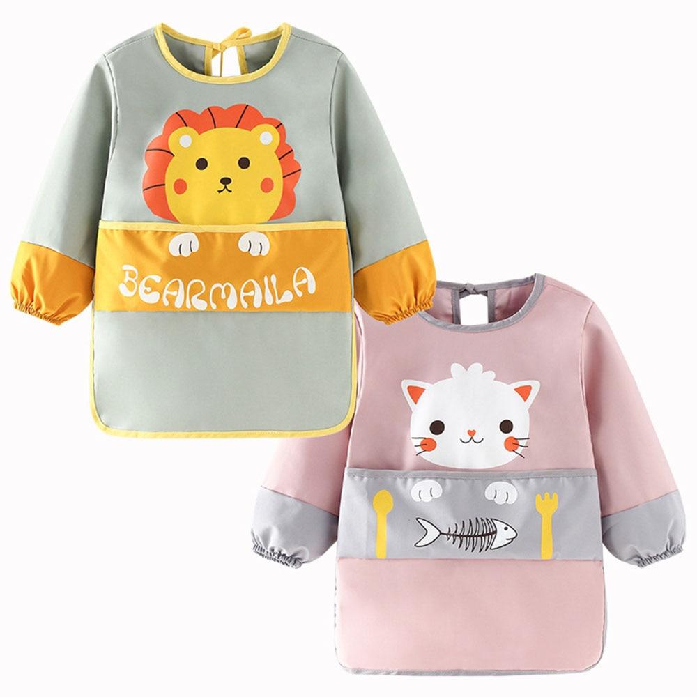Baby kid toddler long sleeve scarf waterproof art work clothes feeding bib apron pocket baby boy girl waterproof bib