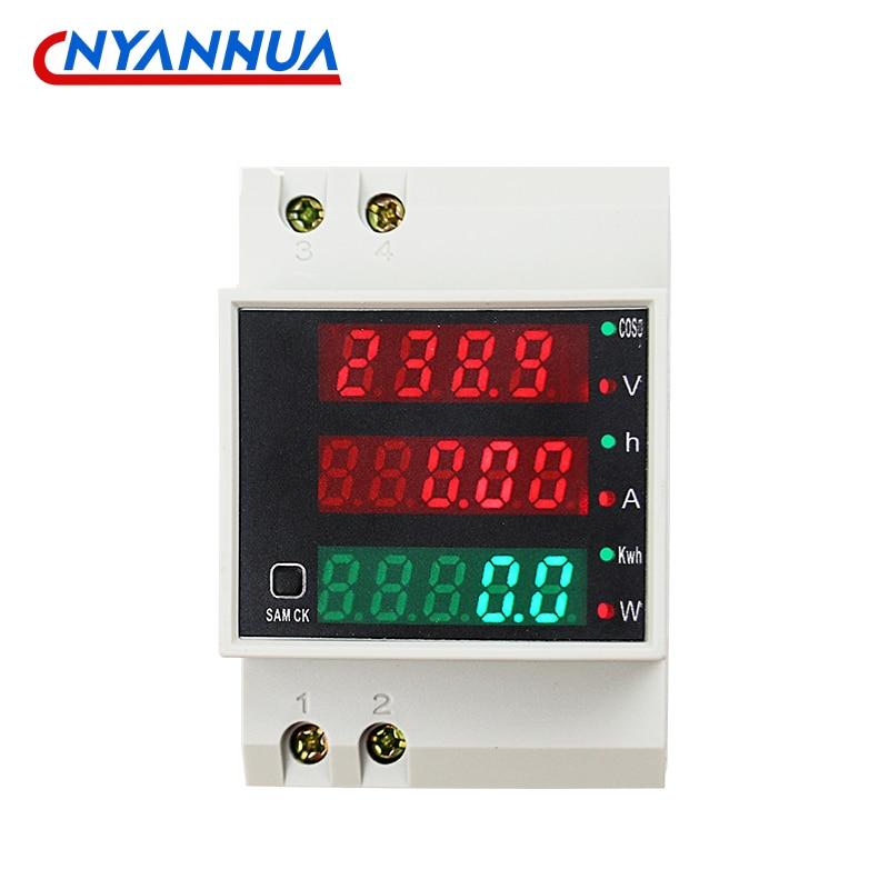 D52-2047 Многофункциональный цифровой измеритель для монтажной рейки для измерения тока Напряжение Мощность измеритель коэффициента мощност...