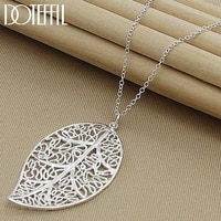 doteffil 925 sterling silver big leaf pendant necklace 18 inch chain for women wedding engagement party jewelry