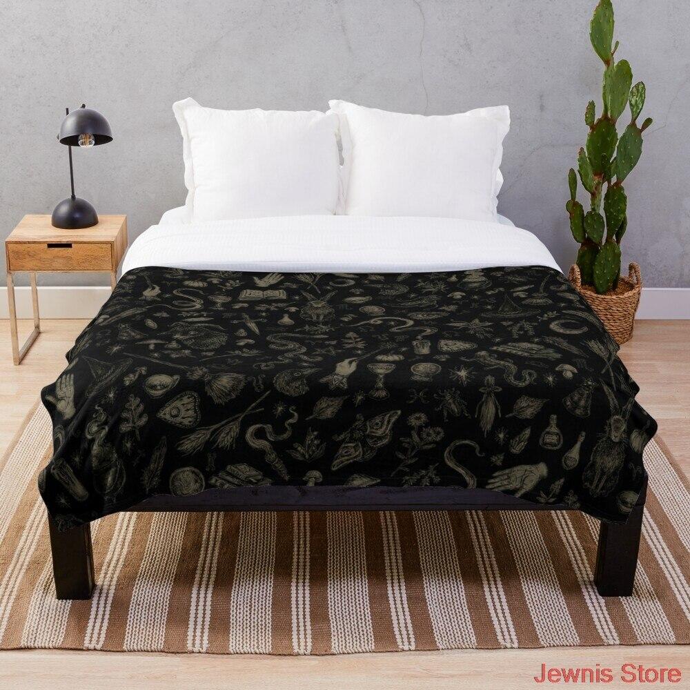 فقط الساحرة الأشياء الأسود و البيج بطانية الصوف الكرتون طباعة الأطفال سرير دافئ رمي بطانية الوليد bayby الكبار بطانية