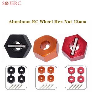 4Pcs/set New Aluminum RC Wheel Hex Nut 12mm With Pins Drive Hubs 4P HSP SCX10 102042 94180 1/10 Upgrade Parts For 4WD Car