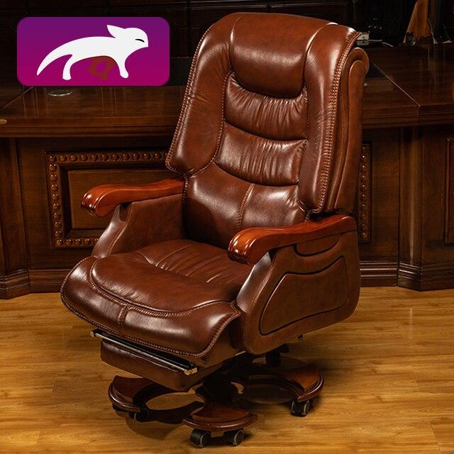 HRZ كرسي مكتب المنزل بوس الجلود مقعد متعدد الوظائف مع وظيفة قطب القدم
