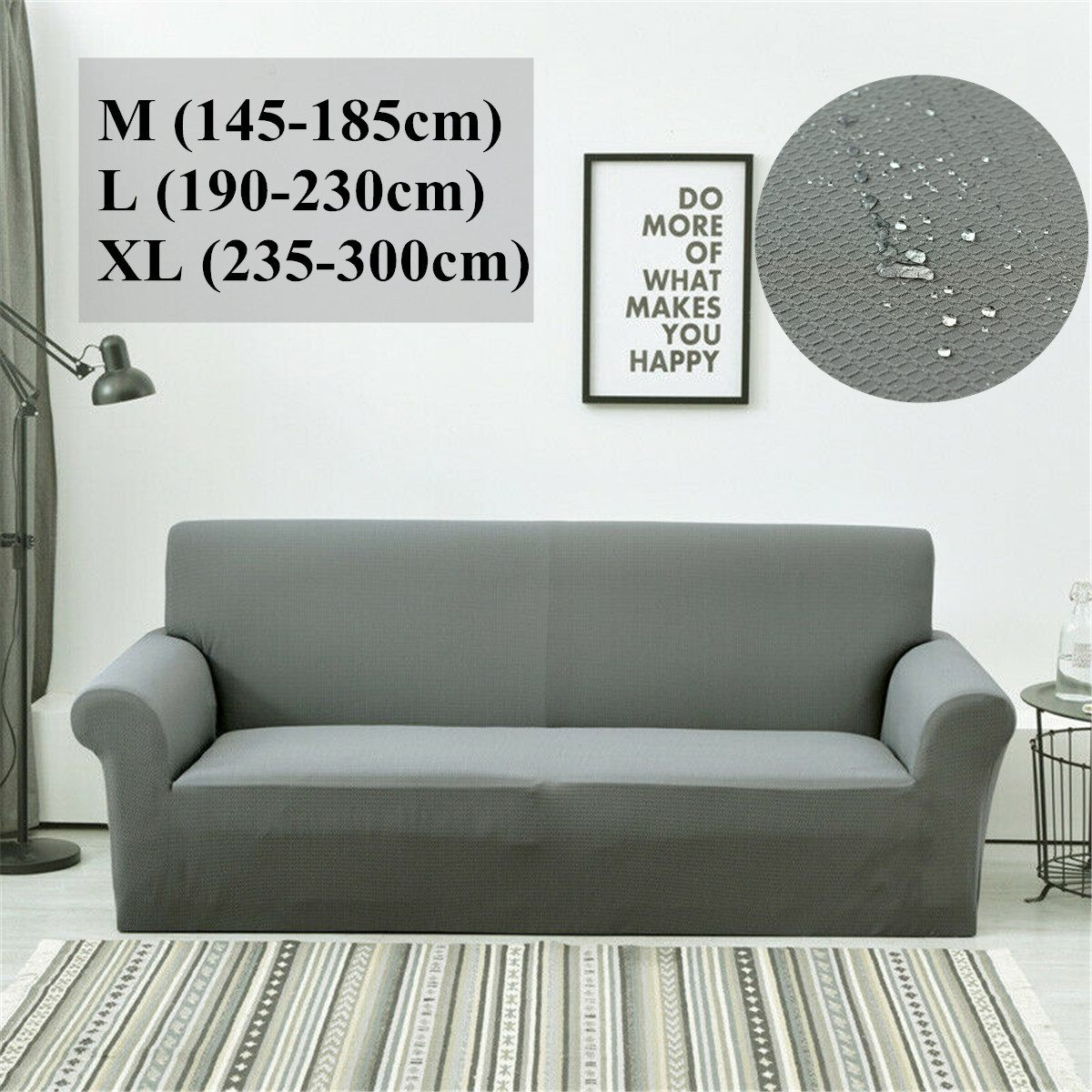Funda de cojín para sofá resistente al agua de 145-185/190-230/235-300cm, almohadilla antideslizante para mascotas, toalla de sofá para pañales, Color sólido Universal Nórdico