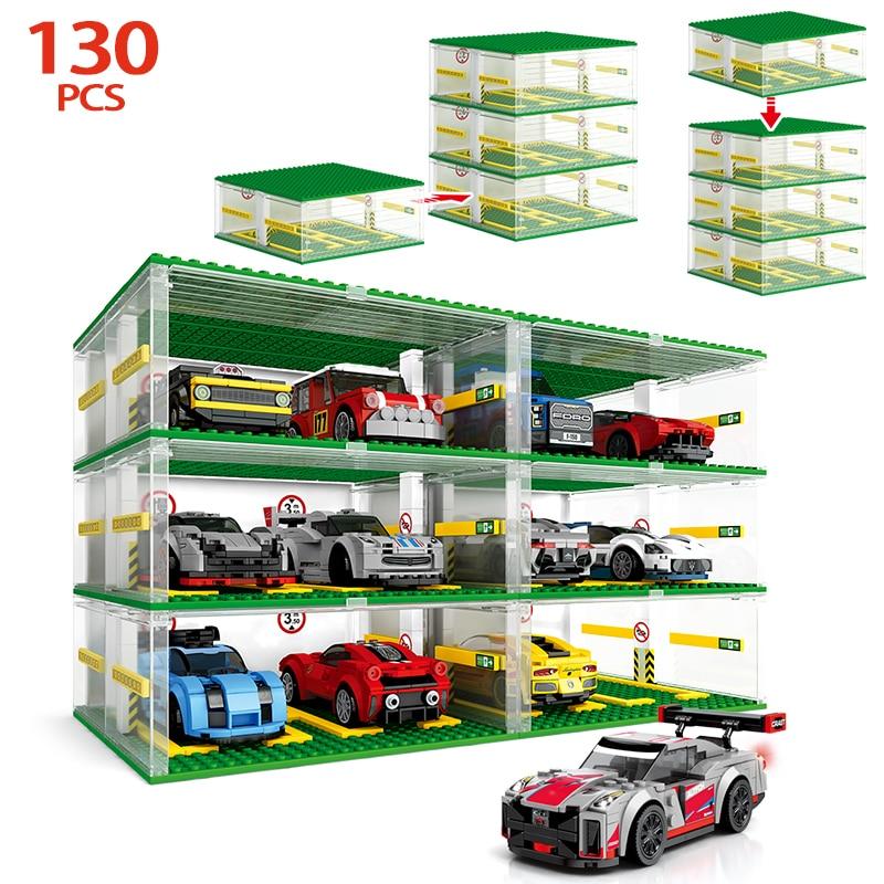 Creador de ciudades, modelo de estacionamiento para carreras técnicas, bloques de construcción de automóviles, placa DIY para garaje, placa Base, caja, bloques, juguetes para niños