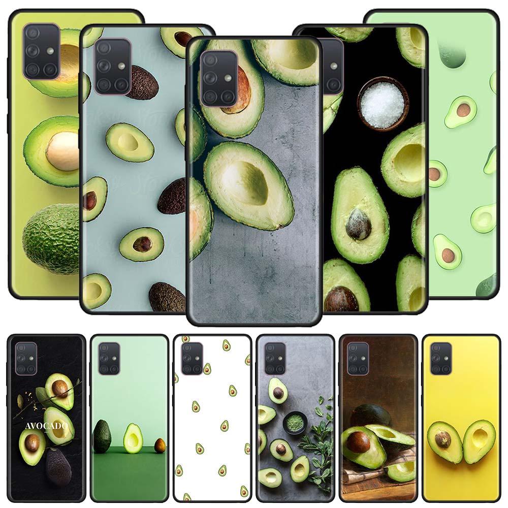 Aguacate frutas caso para Samsung Galaxy A50 A70 A70s A50s A80 A40 A30 A20e A20s A10e A10 suave negro teléfono Coque