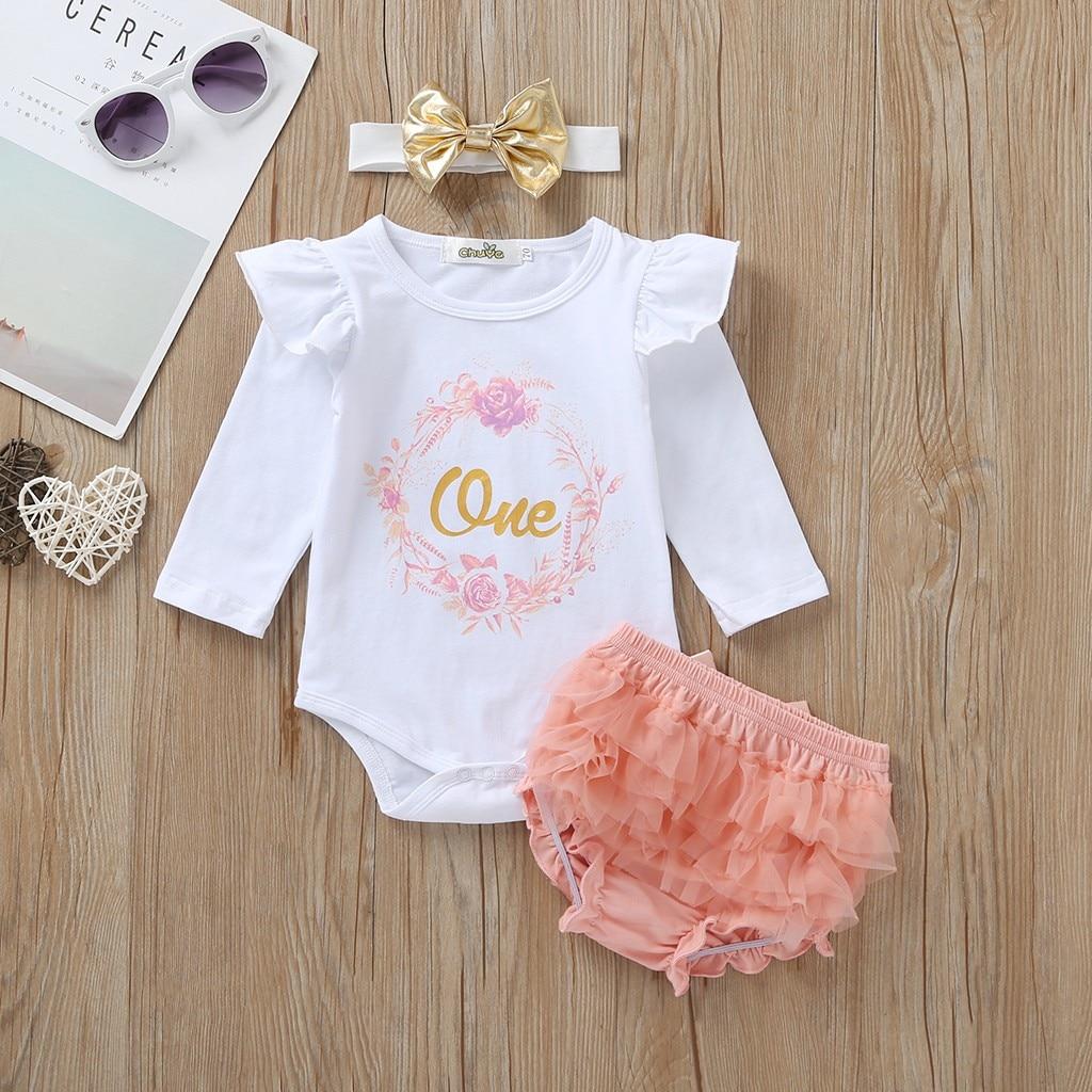 1 año de cumpleaños, conjunto de ropa para bebé niña, body corto de algodón de manga larga con diadema, traje para bebé niña de 1 er cumpleaños niña recién nacida