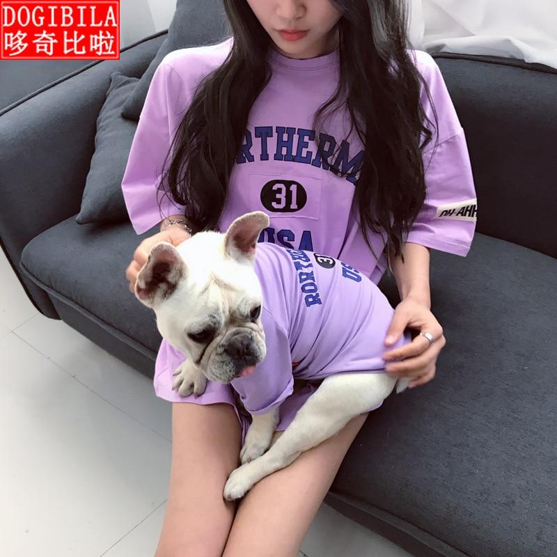 Verano nuevo equipo de Mascota de gatito para padres e hijos sección delgada de manga corta Método de gato ropa de perro babero coreano