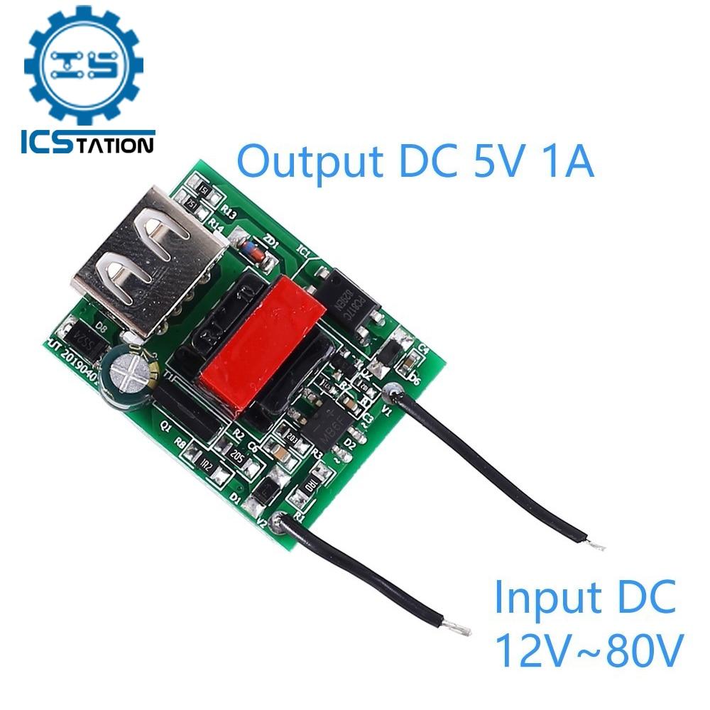 DC-DC-Módulo de reducción de energía, convertidor de corriente aislado, 12V, 24V, 36V, 48V, 60V, 72V a 5V, 1A, USB