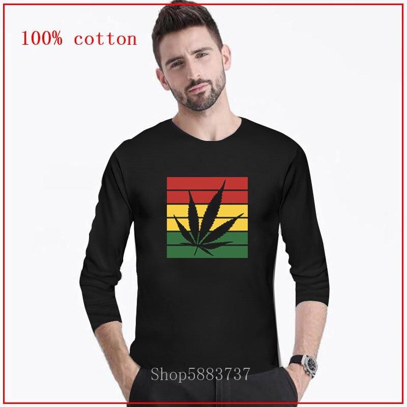 Camiseta para hombre rastafari con diseño Simple y elegante con bandera de hierba a la moda, camisetas Hipster, camisetas de manga larga, ropa Hip Hop de dibujos animados, 2020