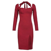 Women Sexy Halter Dress, Adults Solid Color Long Sleeve Square Collar Side Slit Tie Up One-piece