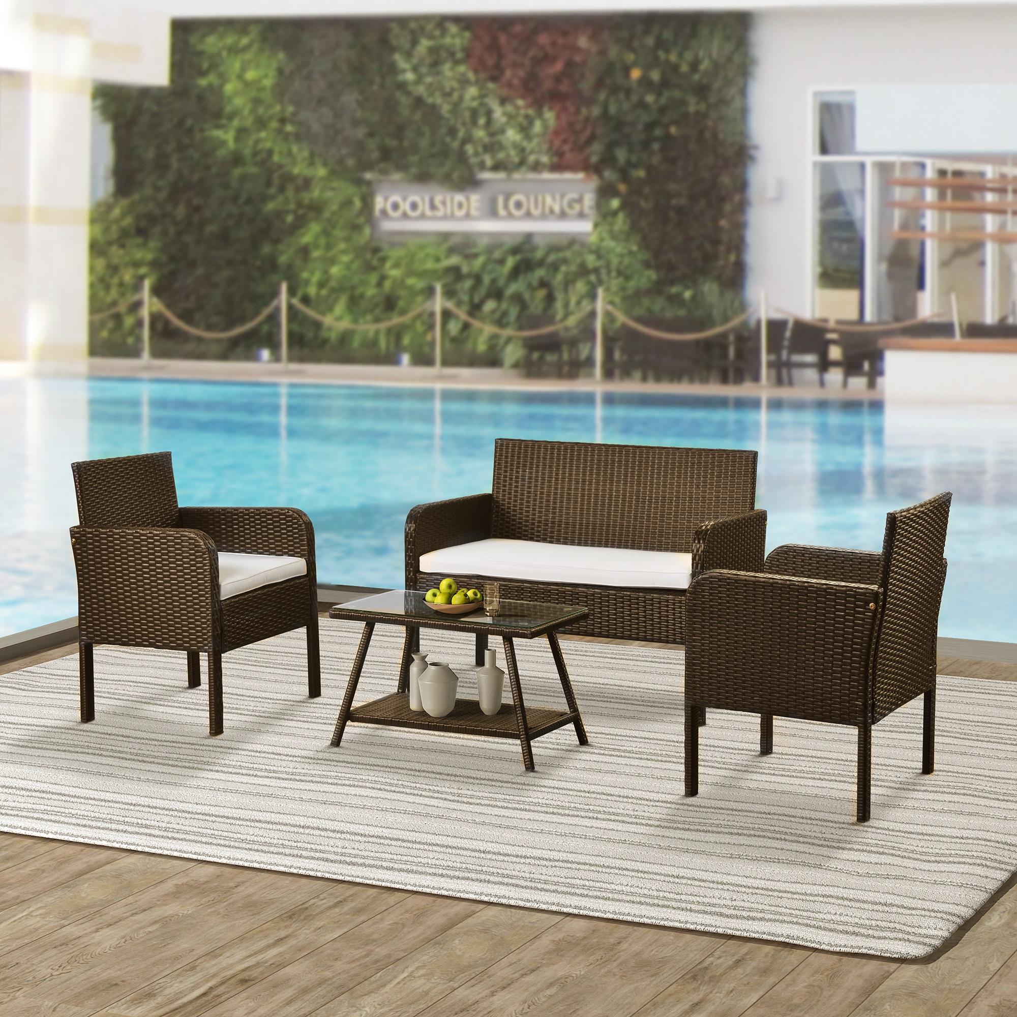 4 قطعة مجموعة اثاث الباحة في الهواء الطلق كرسي صوفا من الخيزران مجموعة الجلوس تشمل 1 أريكة 2 كرسي 1 طاولة القهوة البيج/الأزرق وسائد [US-مستودع]