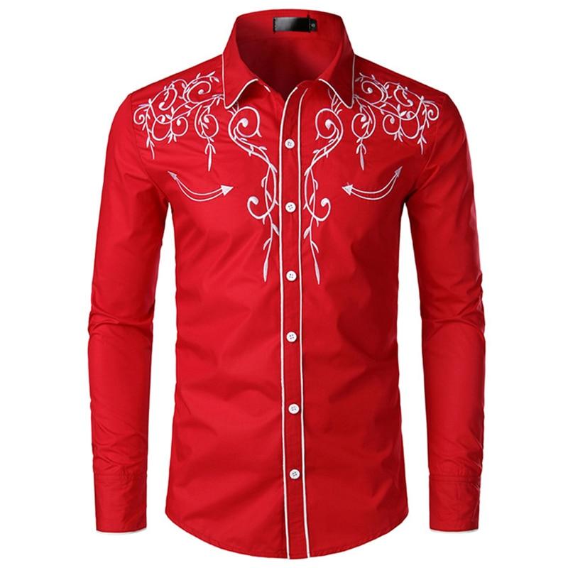Фото - Мужская рубашка с вышивкой, рубашка в западном стиле, мужская рубашка с длинным рукавом, мужская рубашка, красная рубашка, мужская рубашка с ... рубашка wrangler рубашка