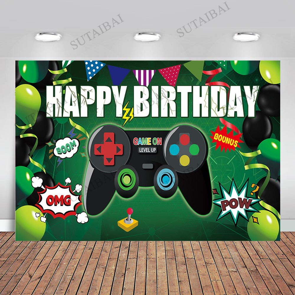 Game Video Play Birthday Backdrop Baby Shower Party Green Balloon Photography Background Backdrop Studio Photophone Props