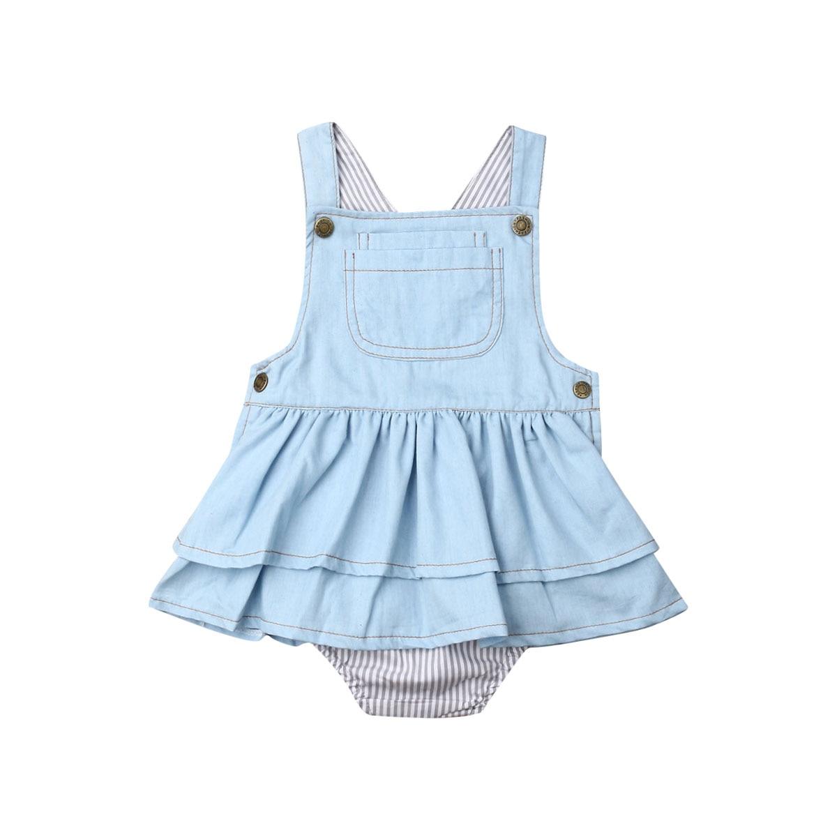 Niños bebé niña sin mangas Mono vaquero tutú en capas vestido de una pieza Infante ropa de verano 6 M-4 T