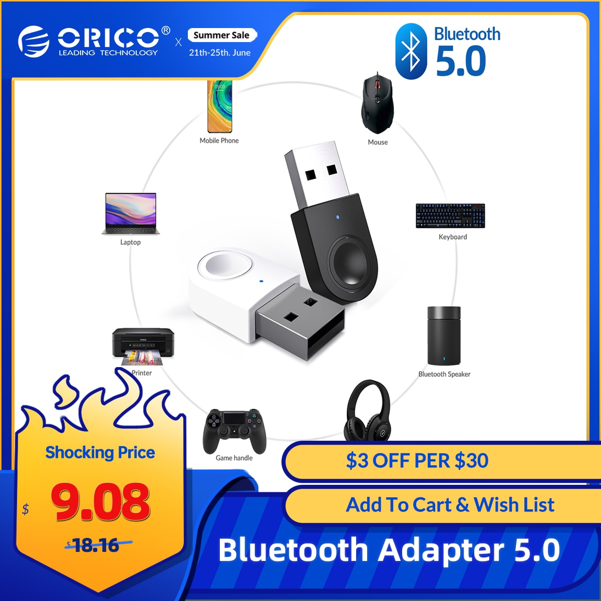 ORICO USB Bluetooth Adapter Dongle 5.0 Portable Bluetooth Receiver Transmitter Support Windows 7/8/10 for PC Laptop Keyboard