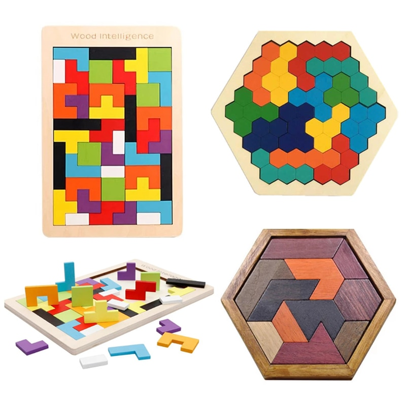 Montessori Tangram Tetris Wooden Puzzle 3D Colorful Wooden Constructor Board Game for Children Kids Math Toys Educational Game topological game tower of hanoi iq intelligence developer 3d puzzle natural wood math game montessori montessori toys children s toys educational toys children toys montessori toys for children fidget toys