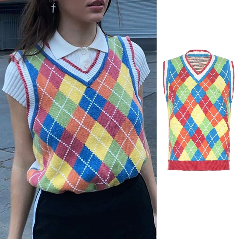 Women Knit Sleeveless Vest Colorful Rhombus Plaid Sweater V-Neck Loose Tank Top enlarge