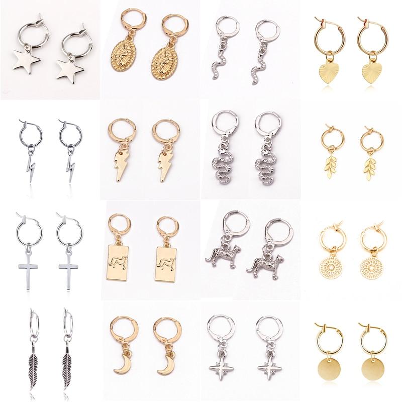 1Pair Trendy Cute Heart Lightning Star Hoop Earrings For Women Punk Snake Cross Hollow Round Endless Circle Earrings Jewelry