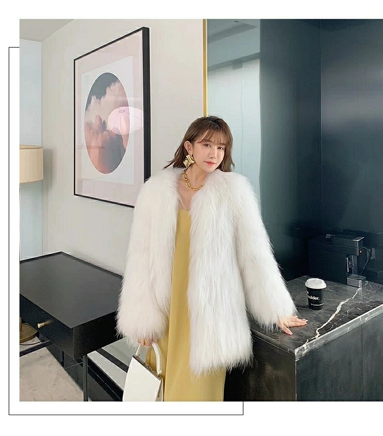 Autumn and Winter New Raccoon Skin  Braided Fur Coat Female Medium and Long Coat Fashion Young