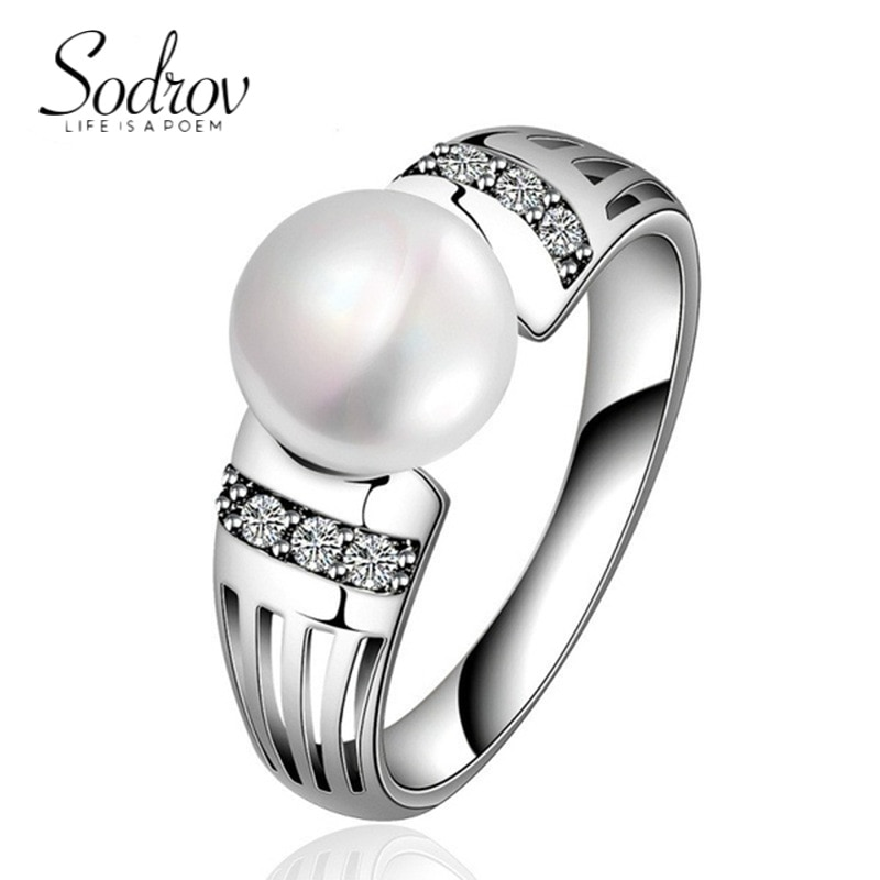 SODROV Pearl Rings for Women 925 Silver Ring Jewelry 925 Pearl Ring Us Size 5-11