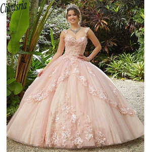 Light Pink Quinceanera Dress  Flowers Appliques  Spaghetti Strap Backless Party Princess Sweet 16 Ball Gown Vestidos De 15 Años