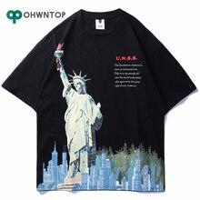 Statue de La Liberté Impression hommes T-Shirts 2020 Drôle Imprimé Manches Courtes T-Shirts Dété Hip Hop décontracté Coton t-shirts streetwear hauts