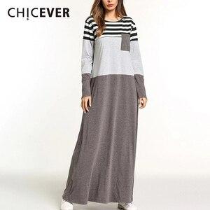 CHICEVER Patchwork Striped Dress Female O Neck Long Sleeve Hit Colors Plus Sizes A Line Dresses For Women Autumn Fashion Clothes