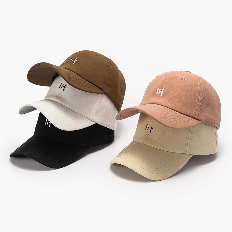 Four Seasons  Korean Style Baseball Caps Female LIT Letters Cotton Cap  Women  Men's Outdoor Casual