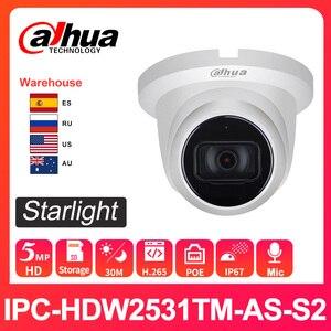 Dahua Original ip camera 5MP IPC-HDW2531TM-AS-S2 IR 30m starlight Camera with IVS MIC SD card slot